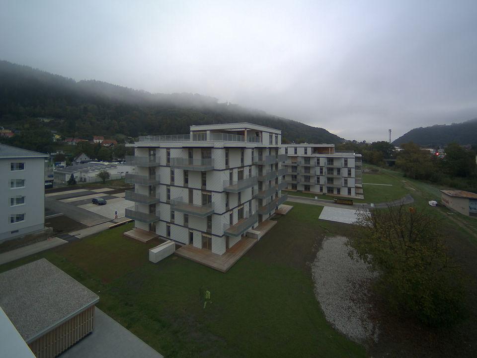 Livebild Baukamera 1 - Webcam 'Gesamtpanorama 1. Bauabschnitt' - Baustelle 'Riverside', Rechte Mürzzeile, 8605 Kapfenberg (Standbild)